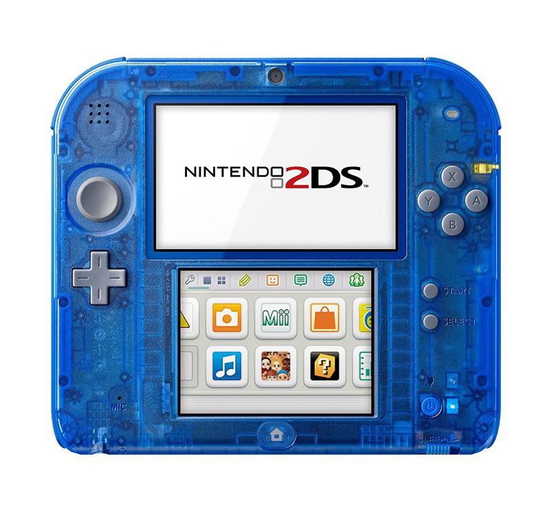 Nintendo 2DS - Konsole #blau-transp. / graue Tasten + Netzteil