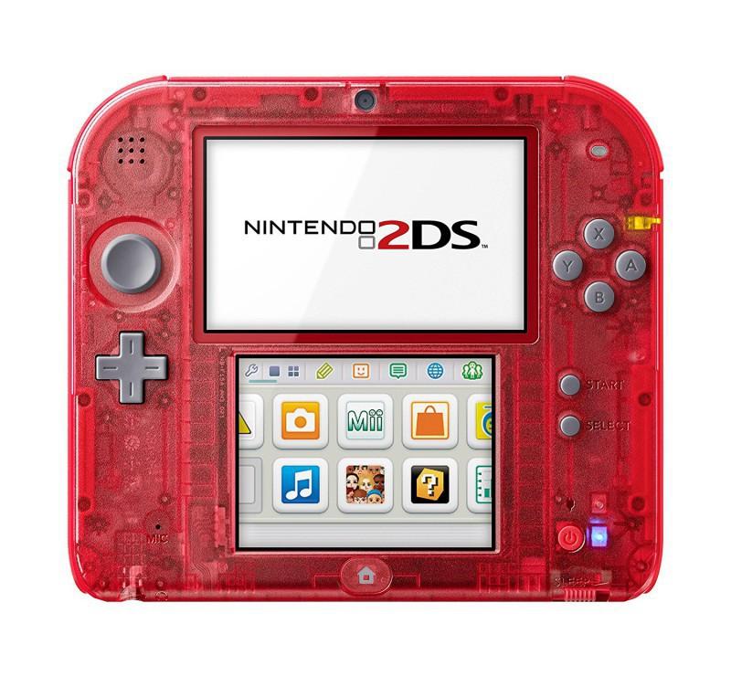 Nintendo 2DS - Konsole #rot-transp. / graue Tasten + Netzteil