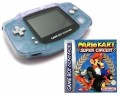 GameBoy Advance - Konsole #transparent Clear Blue Glacier + Mario Kart (gebraucht)