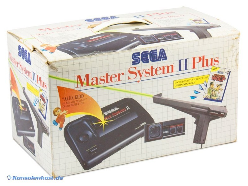 Master-System-2-Konsole-Plus-Set-2-Spiele-Light-Phaser-Pad-Zubehoer-mit-O