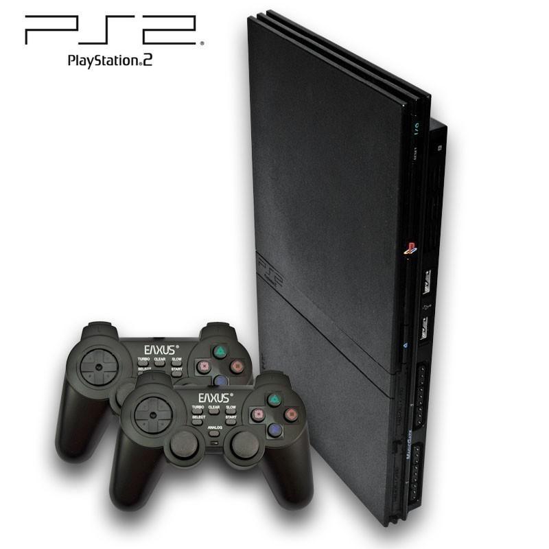 playstation 2 konsole slim schwarz ebay. Black Bedroom Furniture Sets. Home Design Ideas