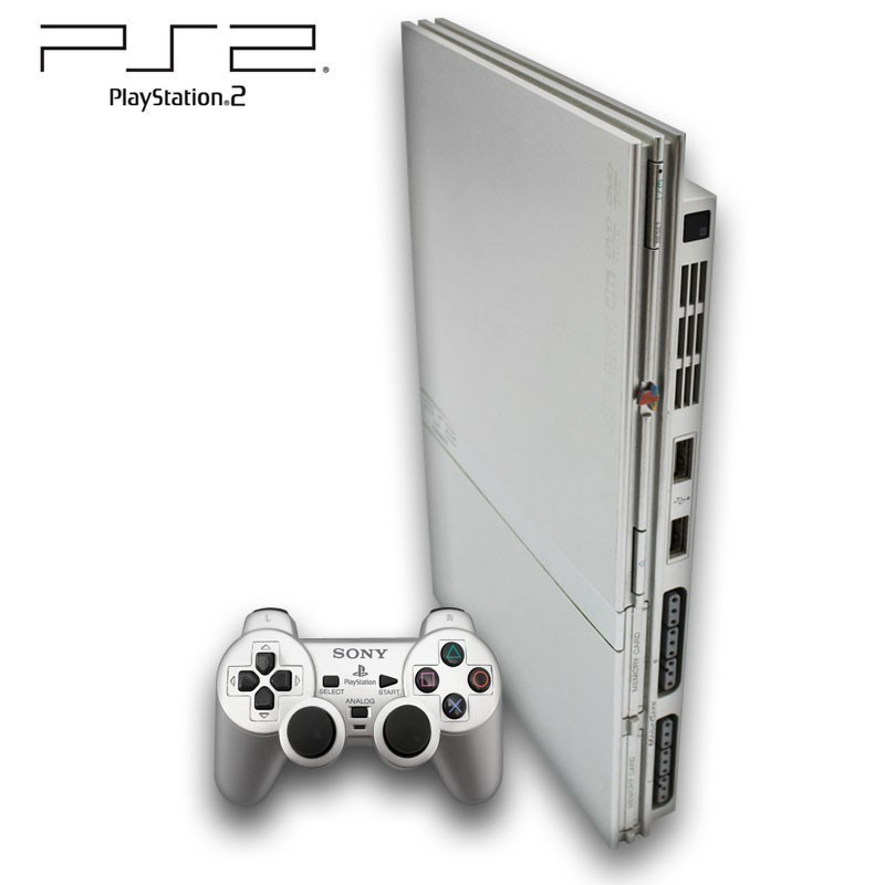 Playstation-2-Konsole-Slim-silber-inkl-Dual-Shock-Controller-Zubehoer-ge