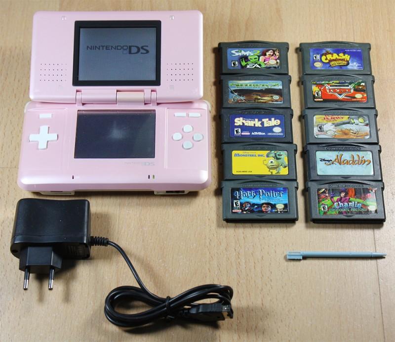 nintendo ds m dchen set konsole pink 10 spiele inkl netzteil gebraucht. Black Bedroom Furniture Sets. Home Design Ideas