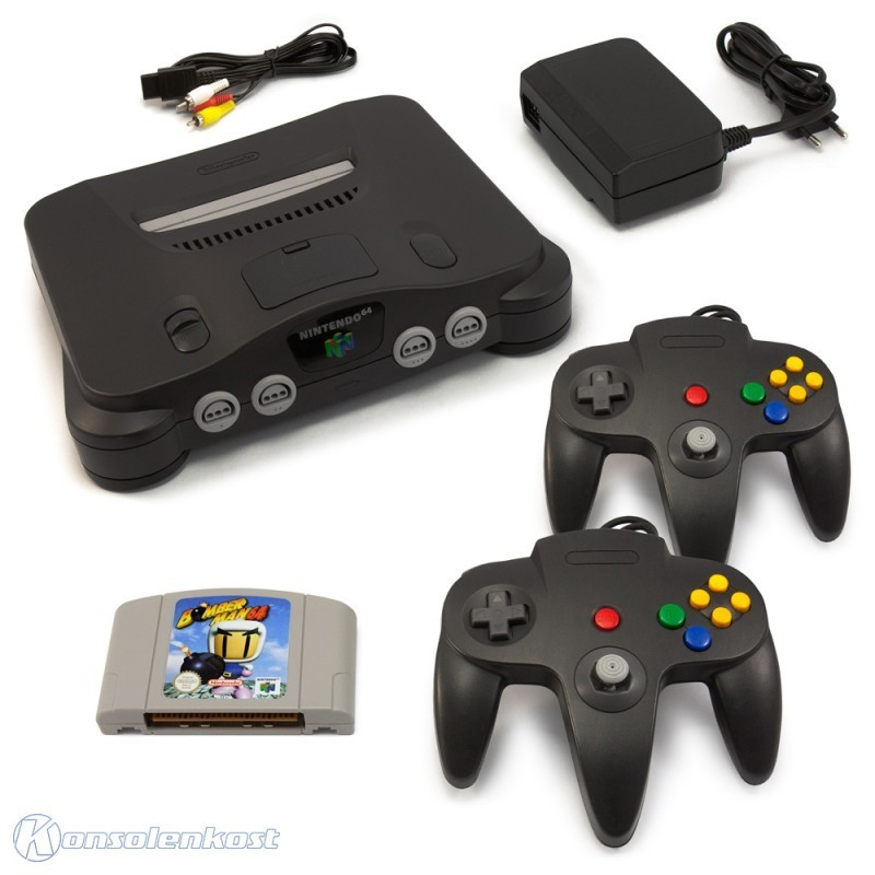 n64 konsole inkl bomberman 2 controller zubeh r. Black Bedroom Furniture Sets. Home Design Ideas