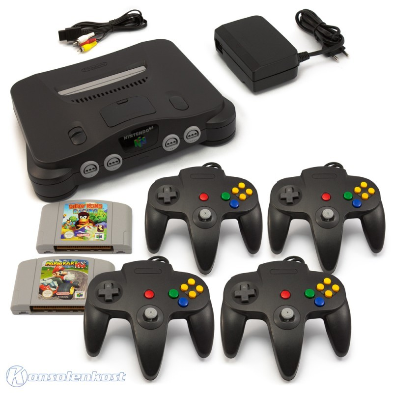 n64 konsole inkl mario kart diddy kong 4 controller. Black Bedroom Furniture Sets. Home Design Ideas
