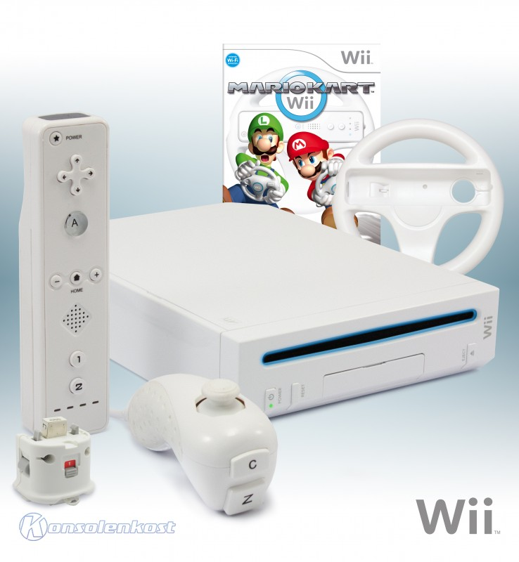 wii konsole wei inkl mario kart remote motion. Black Bedroom Furniture Sets. Home Design Ideas