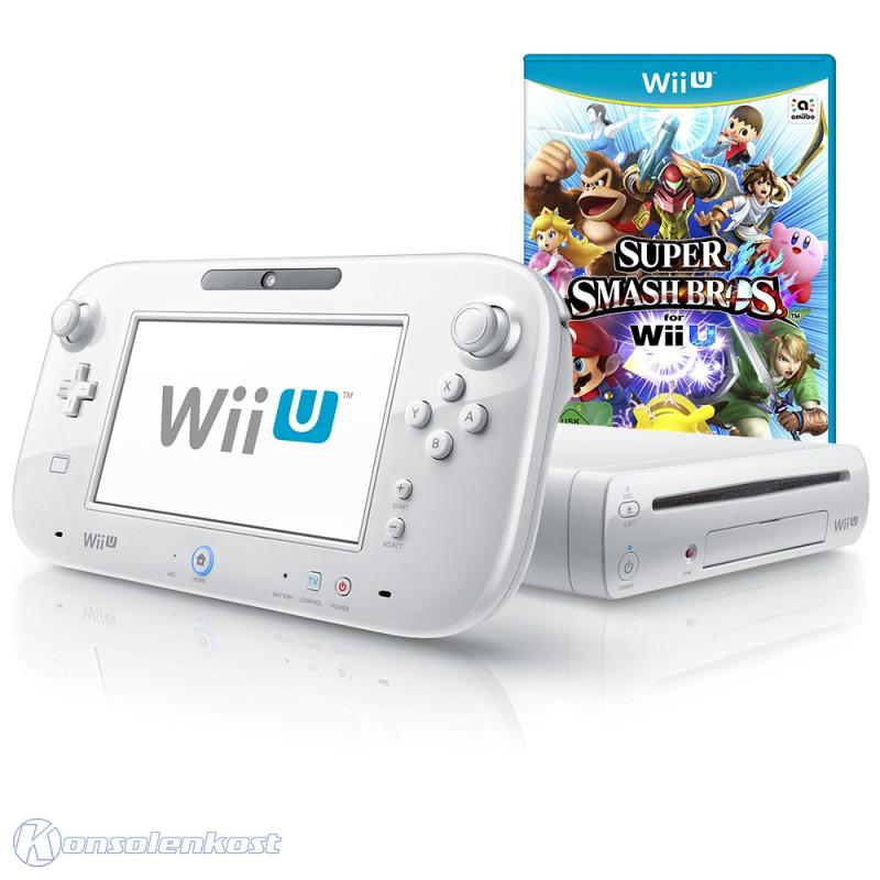 Nintendo wii u console 8 gb bianco incl super smash for Nintendo wii u tablet
