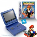 GBA/GameBoy Advance SP Konsole + Mario Kart #blau