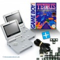 2 GBA/GameBoy Advance SP Konsolen + Tetris + Link Kabel #silber