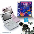2 GBA/GameBoy Advance SP Konsolen + Tetris + Link Kabel #pink/silber