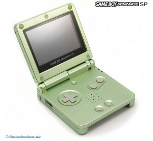 Konsole GBA SP #Pearl Green Limited Edition / grün + Netzteil