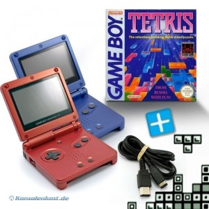 2 GBA/GameBoy Advance SP Konsolen + Tetris + Link Kabel #rot/blau