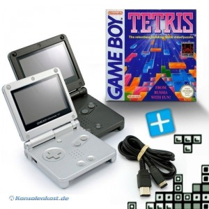 2 GBA/GameBoy Advance SP Konsolen + Tetris + Link Kabel #schwarz/silber