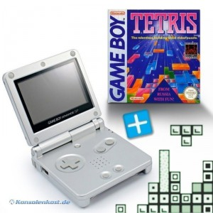 GBA/GameBoy Advance SP Konsole + Tetris #silber