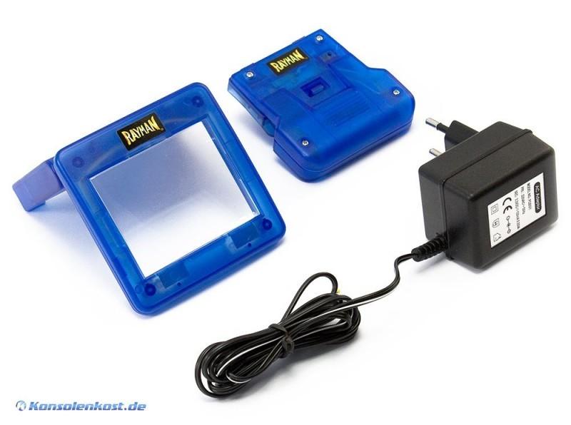 gameboy color lupe mit licht akku pack inkl netzteil custom rayman clear blue konsolenkost. Black Bedroom Furniture Sets. Home Design Ideas