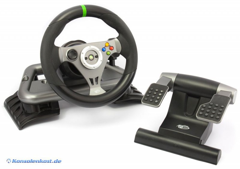xbox 360 lenkrad racing steering wheel wireless mit. Black Bedroom Furniture Sets. Home Design Ideas