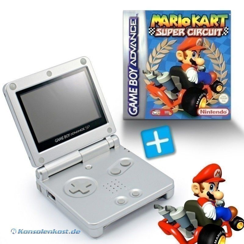 GBA/GameBoy Advance SP Konsole + Mario Kart #silber