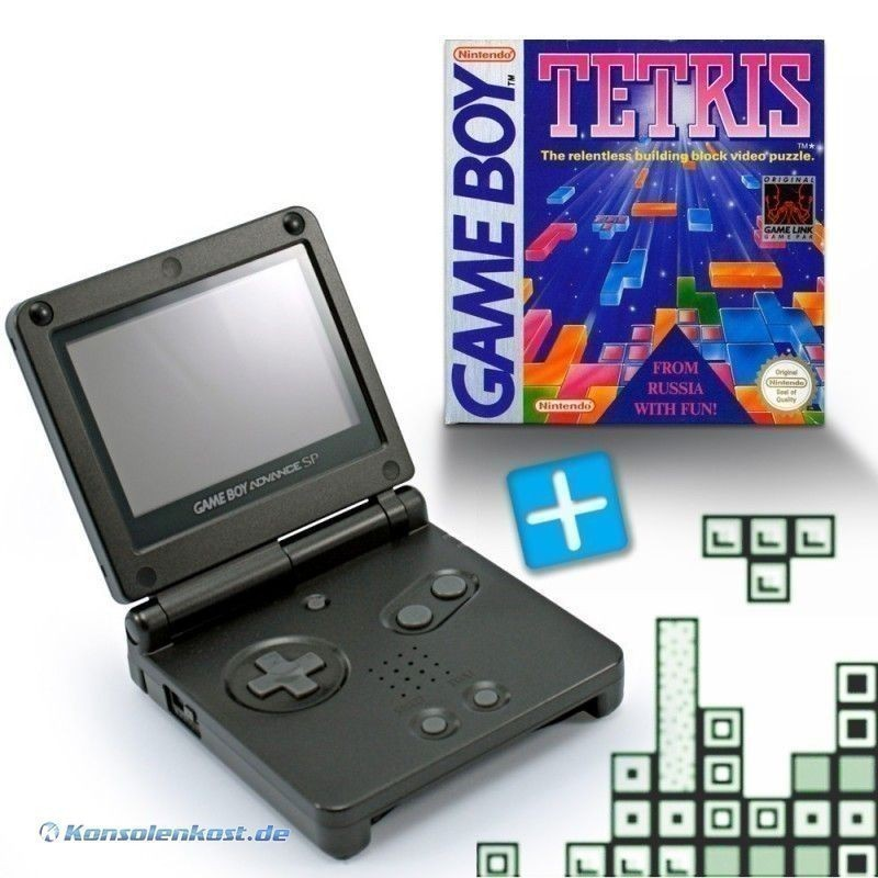 GBA/GameBoy Advance SP Konsole + Tetris #schwarz