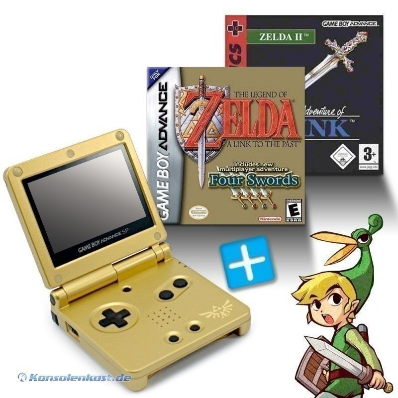 GBA/GameBoy Advance SP Konsole + Zelda II + The Legend of Zelda: A Link to the Past